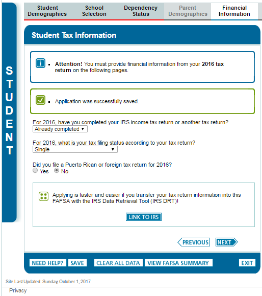 FAFSA site instructions image